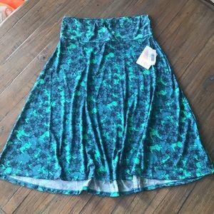 LuLaRoe size L blue & green floral Azure skirt